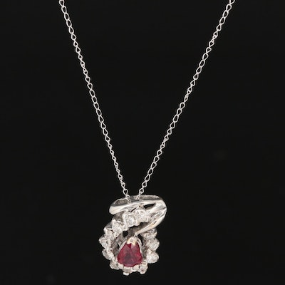 14K Gold Ruby and Diamond Pendant on Curb Chain Necklace