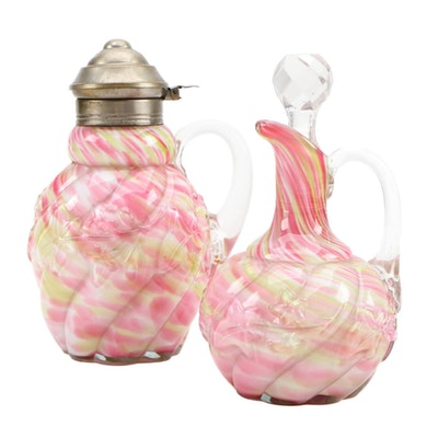 "Northwood ""Royal Ivy"" Cased Glass Cruet and Creamer"