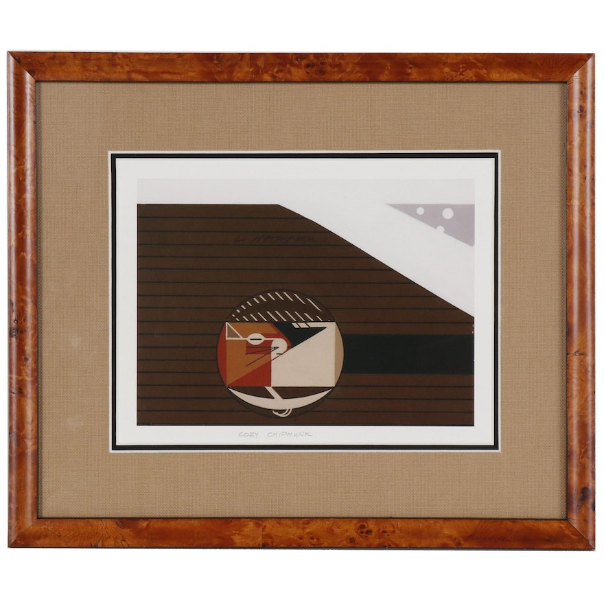"""Offset Lithograph after Charley Harper """"Cozy Chipmunk"""""""