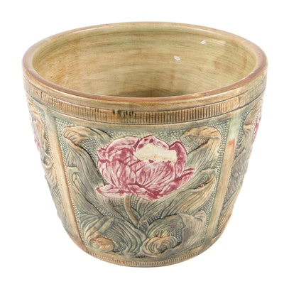Weller Pottery Four Panel Jardiniere with Peonies