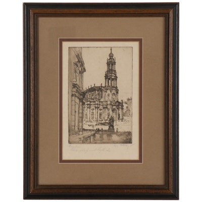 German Etching of Dresden Castle