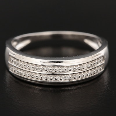 Shy Creations 14K White Gold Ring with a Double Row of Diamonds