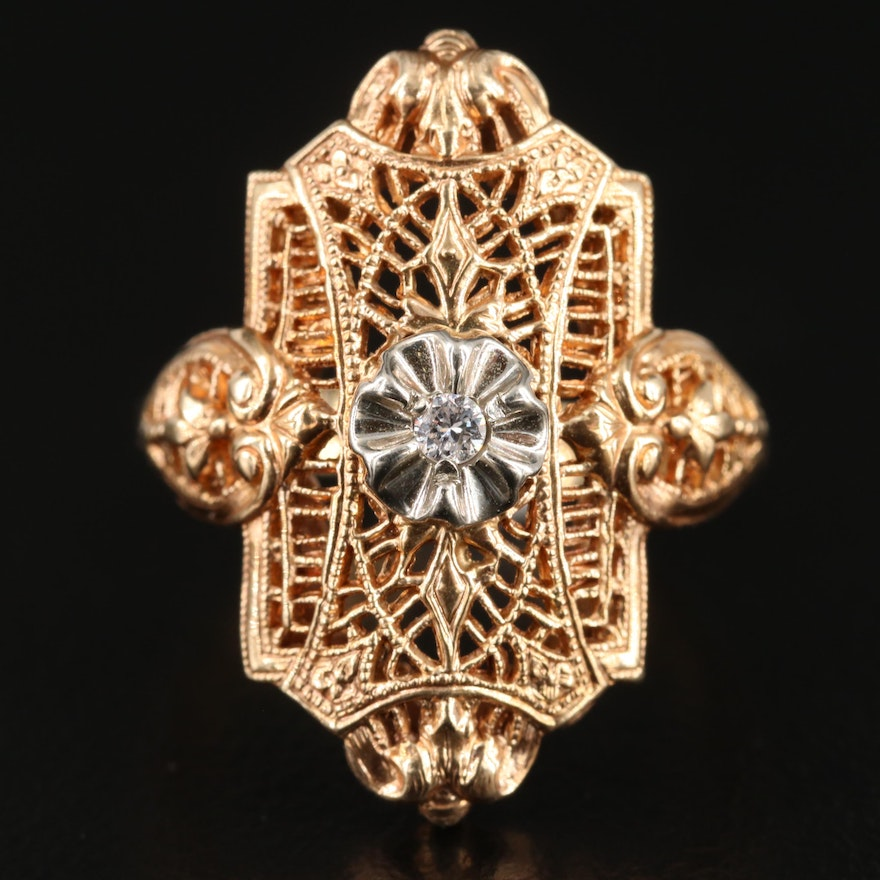 Edwardian Style 10K Yellow Gold Diamond Ring