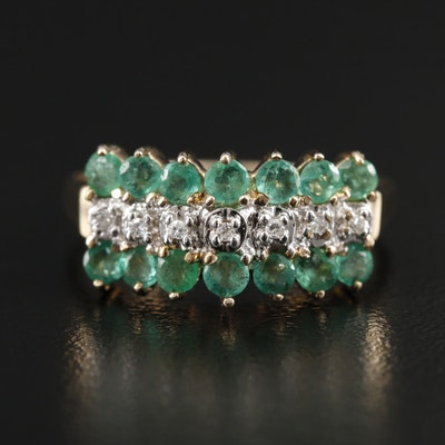 10K Yellow Gold Diamond and Emerald Ring
