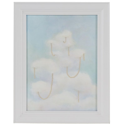 Kris Ebeling Surrealistic Acrylic Painting of Clouds and Pearls
