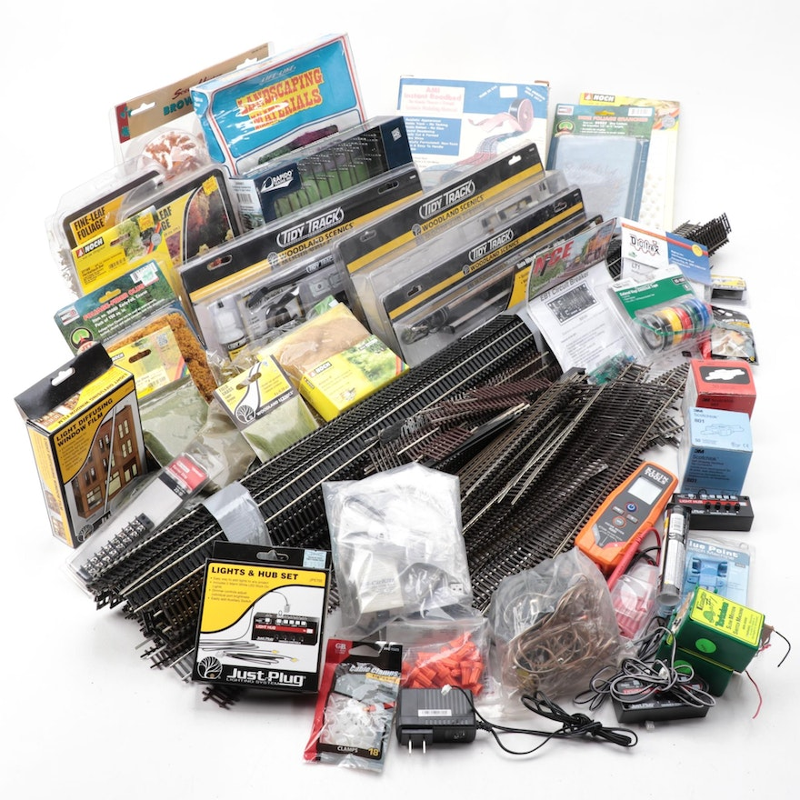 Model Train Accessories Including Track, Landscaping Items, and More
