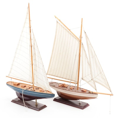 Handcrafted Three-Mast Schooner Wood Models with Bases, Mid-20th Century