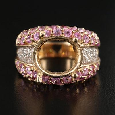 10K Yellow Gold Pink Sapphire and Diamond Semi-Mount Ring