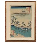 "Utagawa Hiroshige I Ukiyo-e Woodblock ""View to the North from Asuka Hill"""