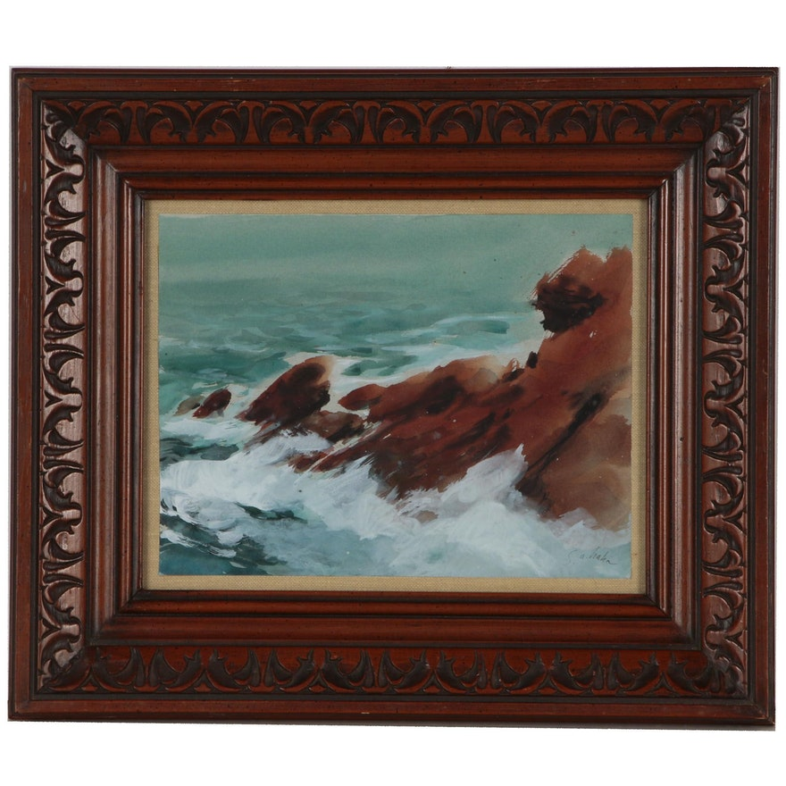 S.A. Hahn Seascape Watercolor Painting of Rocky Coast
