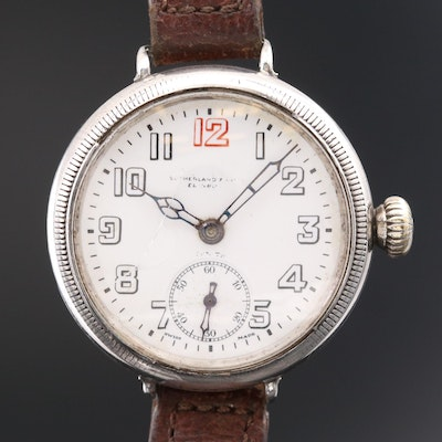 Antique Zenith Land & Water Sterling Silver Trench Watch, 1918