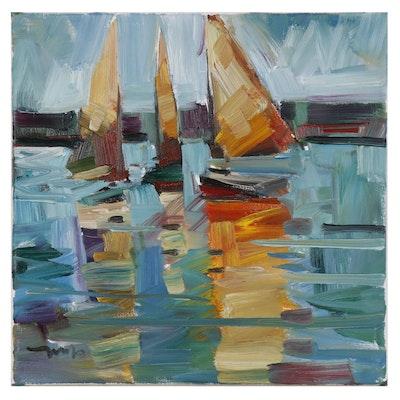 "Jose Trujillo Oil Painting ""Yellow Sails"""