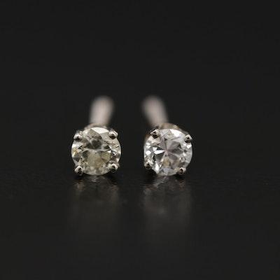 14K Gold 0.28 CTW Diamond Solitaire Stud Earrings