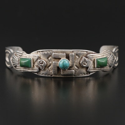 Southwestern Style Sterling Silver Child's Bracelet With Turquoise Accents