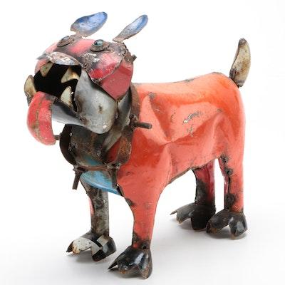 Mexican Folk Art Scrap Metal Bulldog Sculpture