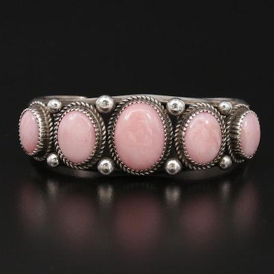 Signed Begay Navajo Dinée Sterling Silver Opal Cuff Bracelet