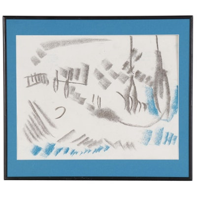 Paul Chidlaw Abstract Pastel Drawing, Late 20th Century