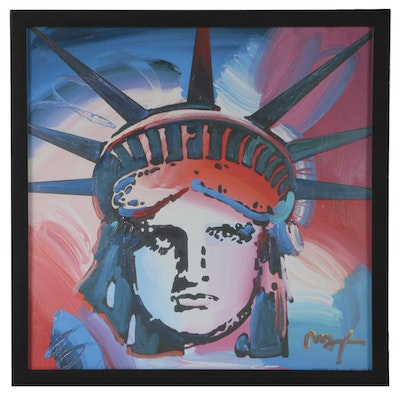 Giclée after Peter Max of the Statue of Liberty
