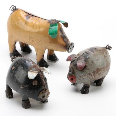 Mexican Folk Art Scrap Metal Pig and Piglets Sculptures