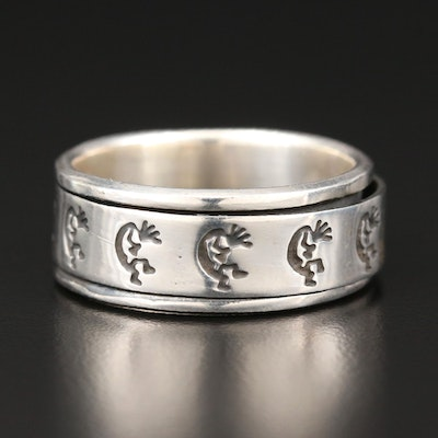 Sterling Silver Spinner Ring Featuring Kokopelli Motif