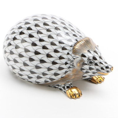 """Herend Black Fishnet with Gold """"Hedgehog"""" Porcelain Figurine, January 1996"""