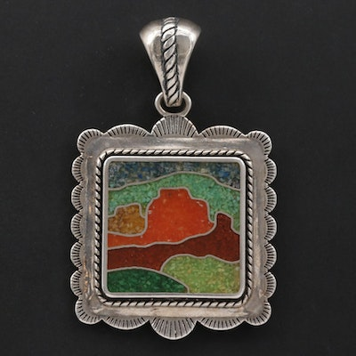 Carolyn Pollack for Relios Sterling Silver Stone Inlay Pendant