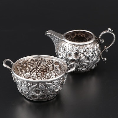 "S. Kirk & Son ""Repoussé"" Coin Silver Cream and Sugar, Late 19th Century"