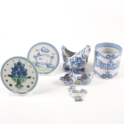 M.A. Hadley Blue and White Country Kitchen Art Pottery, Mid-20th Century