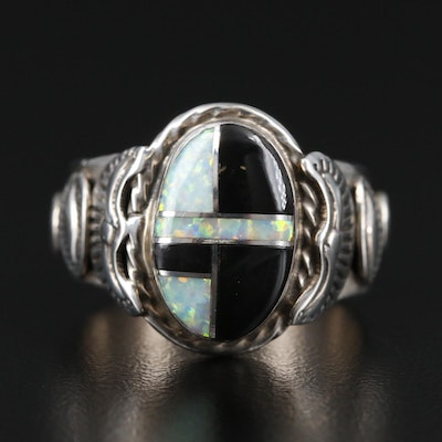 Southwestern Style N. Juan Sterling Opal and Black Onyx Inlay Ring
