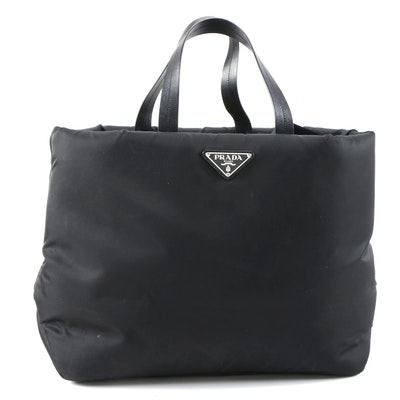 Prada Black Tessuto Nylon Travel Tote with Leather Handles and Nylon Strap