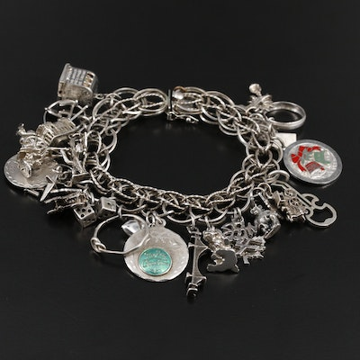 Sterling Charm Bracelet Including Slot Machine, Palm Tree and Guitar Charms
