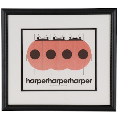 "Lithograph after Charley Harper ""Ladybug Trifecta"""