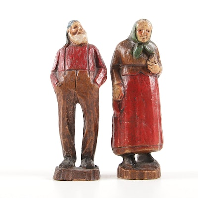 Polychrome Carved Wooden Folk Art Figurines