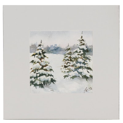 Sue Dion Winter Landscape Watercolor Painting
