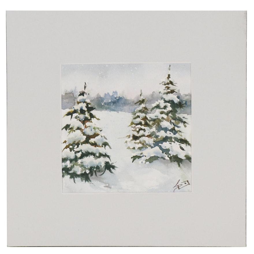 Sue Dion Winter Landscape Watercolor Painting