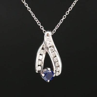 14K White Gold Sapphire and Diamond Pendant on Cable Chain Necklace