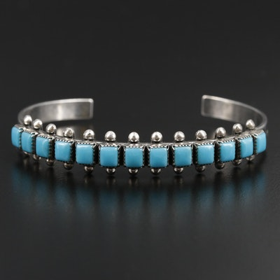 Signed Southwestern Style Sterling Silver Turquoise Cuff Bracelet
