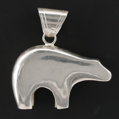 Signed Southwestern Style Sterling Silver Fetish Bear Pendant