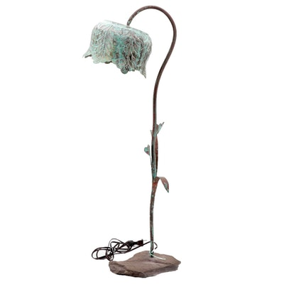 Naturalistic Patinated Copper Table Lamp
