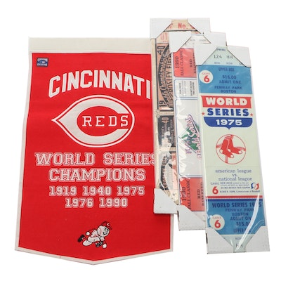 Cincinnati Reds Banner with Large World Series Ticket Displays