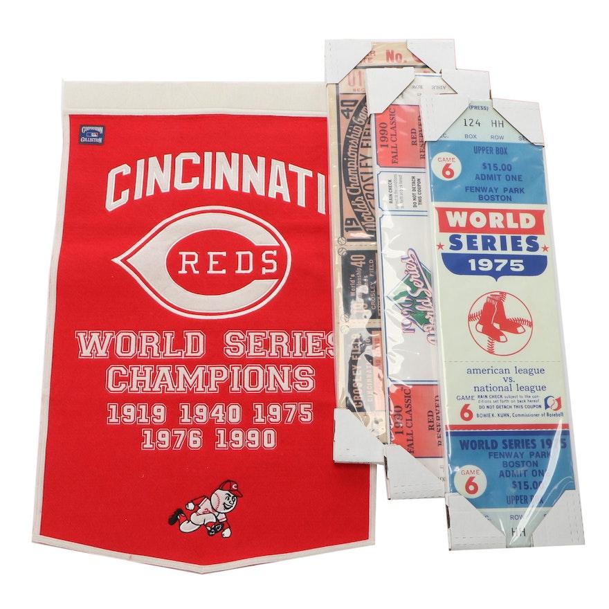 Cincinnati Reds Banner with Large World Series Ticket Displays