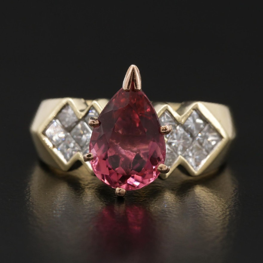18K Yellow Gold 1.90 CT Pink Tourmaline and 1.20 CTW Diamond Ring
