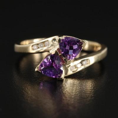 10K Yellow Gold Amethyst and Diamond Ring