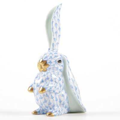 "Herend Blue Fishnet with Gold ""Rabbit with One Ear Up"" Porcelain Figurine"