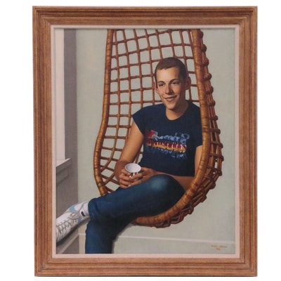Daniel E. Greene Oil Portrait of Boy in Hanging Chair, 1982