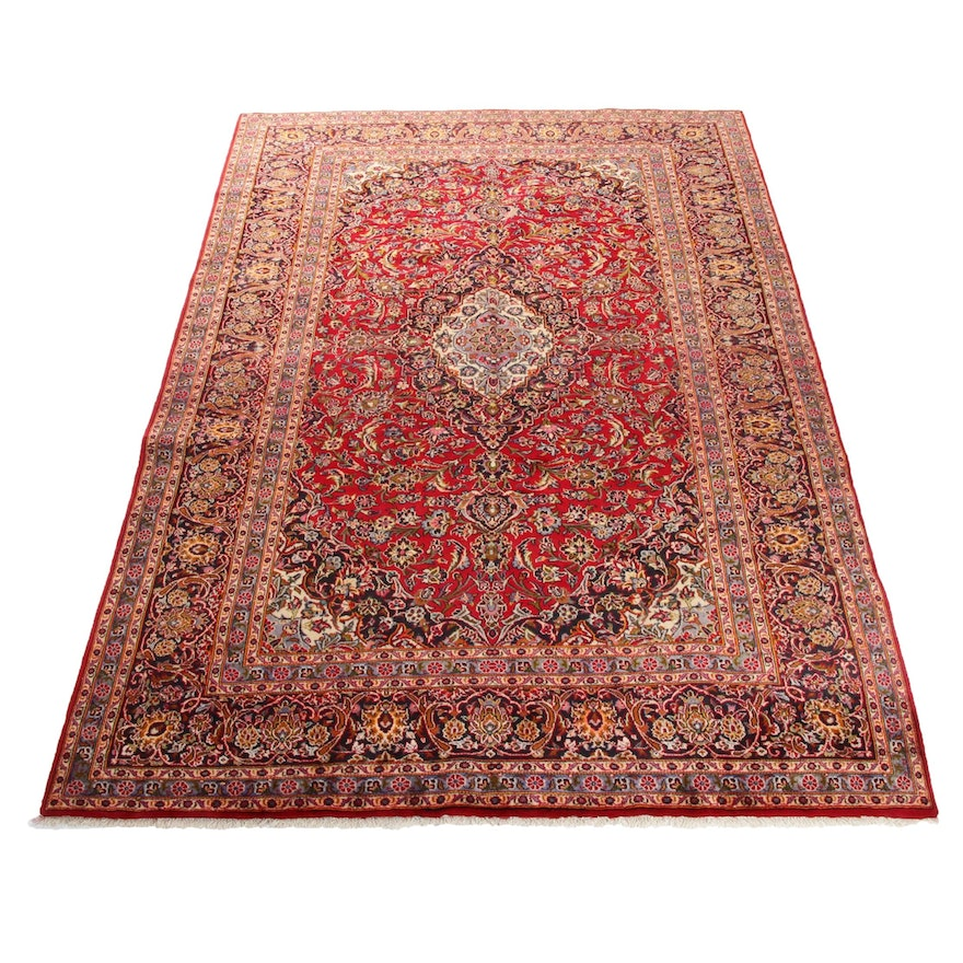 8'9 x 13' Hand-Knotted Persian Kashan Rug, 1970s