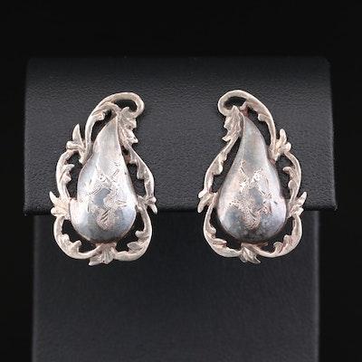 Thai Sterling Silver Niello Button Earrings