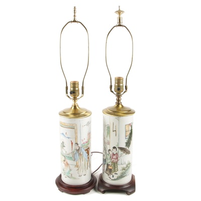 Chinese Porcelain Wig Stands Adapted as Lamps, 1890-1910