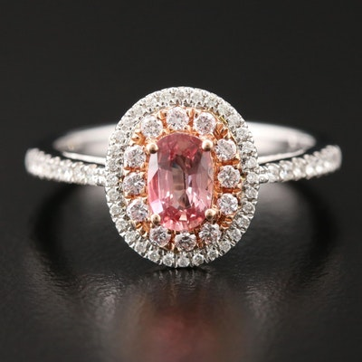 14K White Gold Padparadscha Sapphire and Diamond Ring with Rose Gold Accent