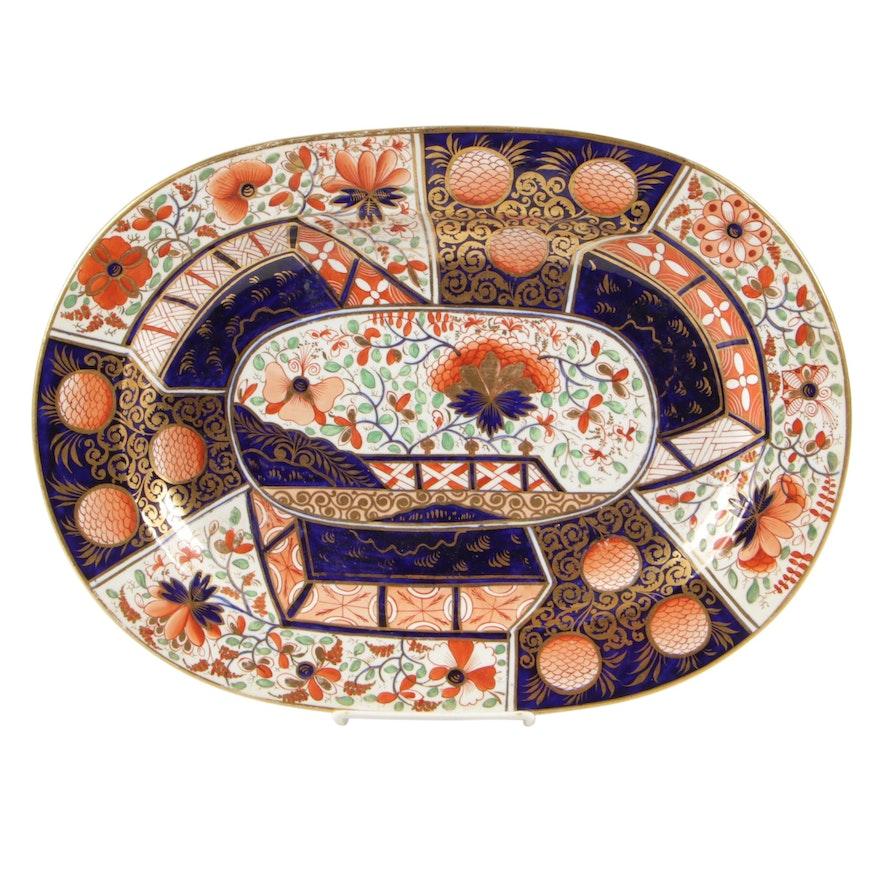 "Duesbury Derby English ""Imari"" Regency Porcelain Platter, 1806-25"